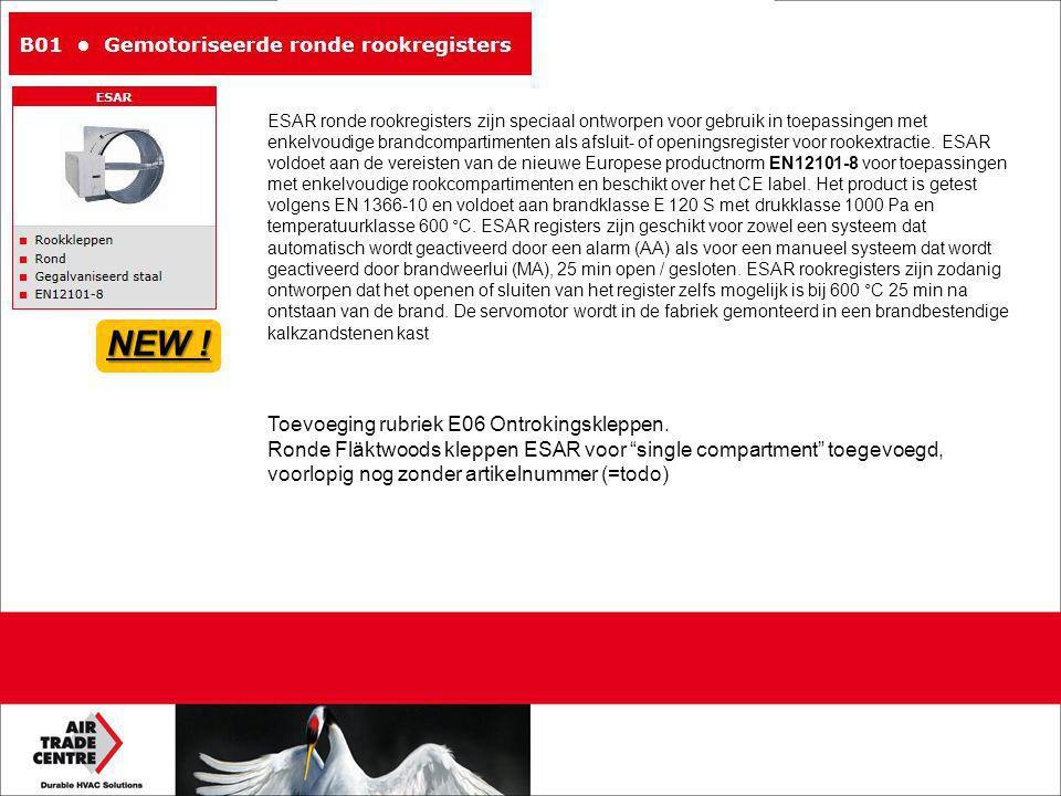 """Toevoeging rubriek E06 Ontrokingskleppen. Ronde Fläktwoods kleppen ESAR voor """"single compartment"""" toegevoegd, voorlopig nog zonder artikelnummer (=tod"""