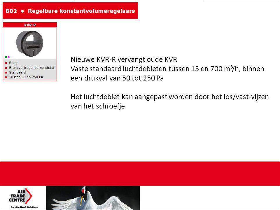 Nieuwe KVR-R vervangt oude KVR Vaste standaard luchtdebieten tussen 15 en 700 m³/h, binnen een drukval van 50 tot 250 Pa Het luchtdebiet kan aangepast worden door het los/vast-vijzen van het schroefje