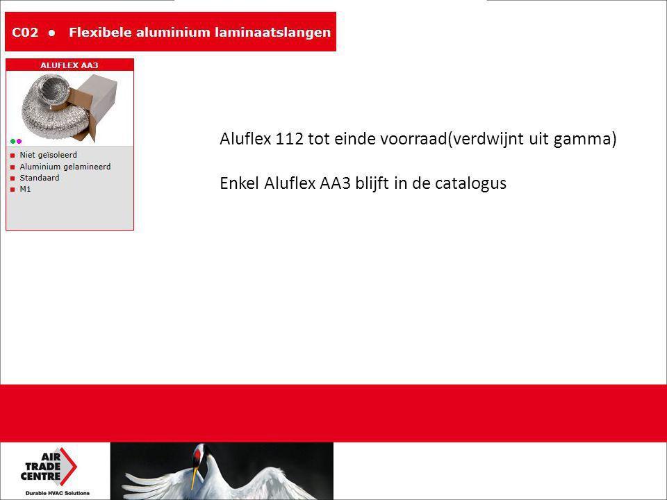 Aluflex 112 tot einde voorraad(verdwijnt uit gamma) Enkel Aluflex AA3 blijft in de catalogus