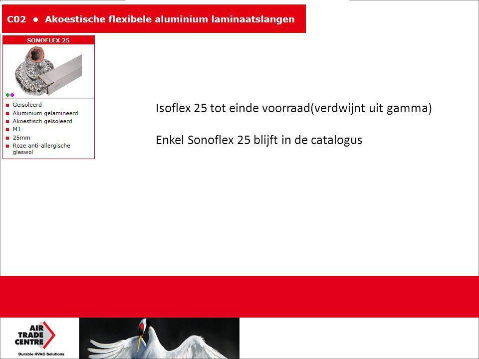 Isoflex 25 tot einde voorraad(verdwijnt uit gamma) Enkel Sonoflex 25 blijft in de catalogus
