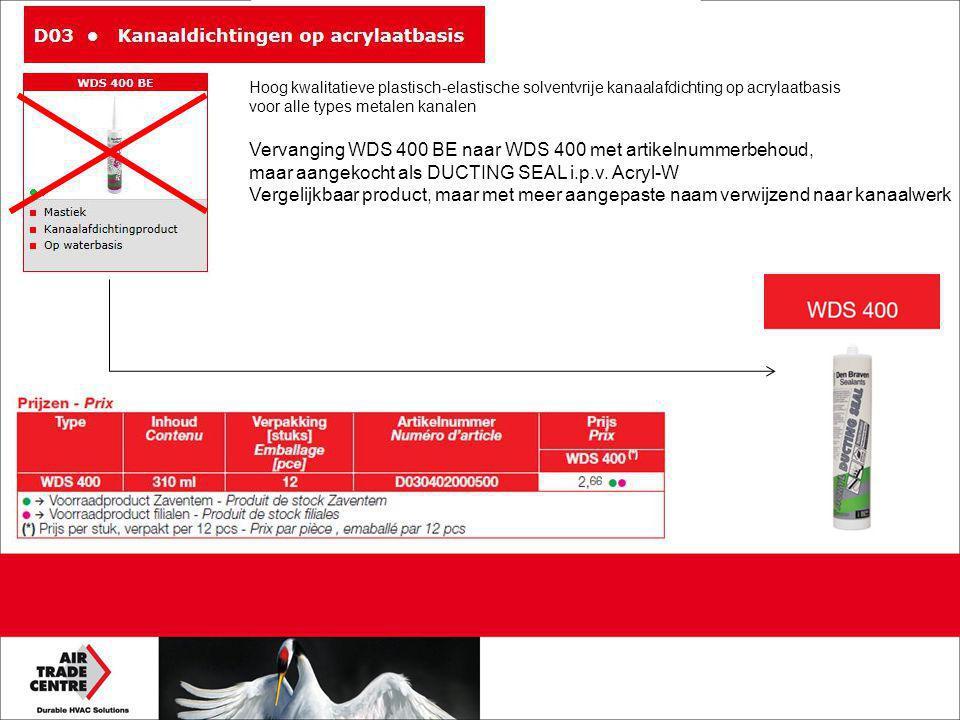 Vervanging WDS 400 BE naar WDS 400 met artikelnummerbehoud, maar aangekocht als DUCTING SEAL i.p.v. Acryl-W Vergelijkbaar product, maar met meer aange