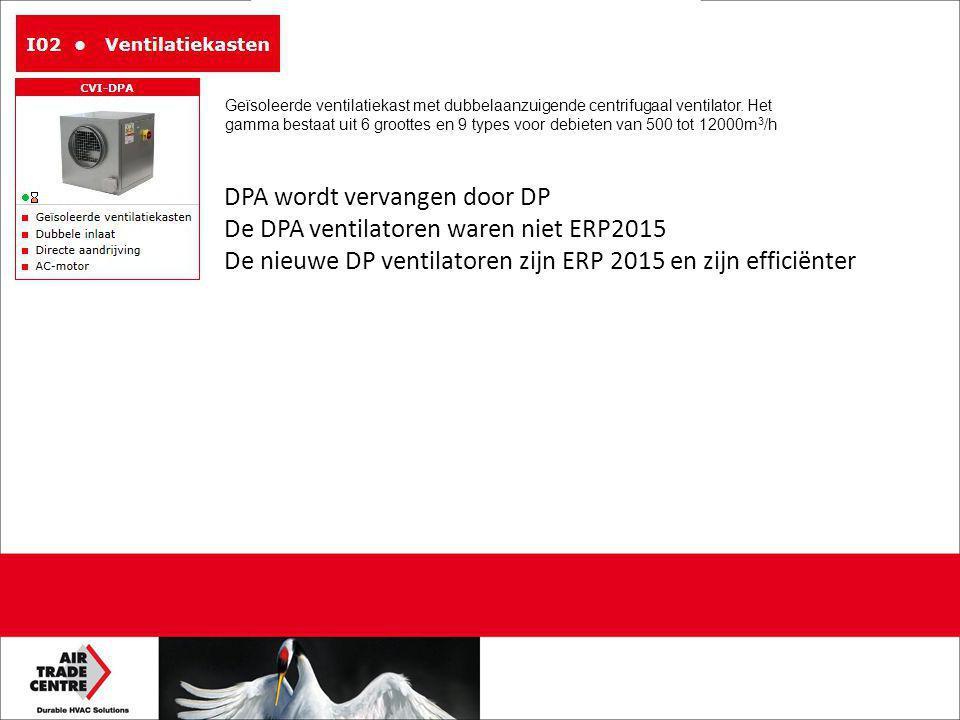DPA wordt vervangen door DP De DPA ventilatoren waren niet ERP2015 De nieuwe DP ventilatoren zijn ERP 2015 en zijn efficiënter Geïsoleerde ventilatiekast met dubbelaanzuigende centrifugaal ventilator.