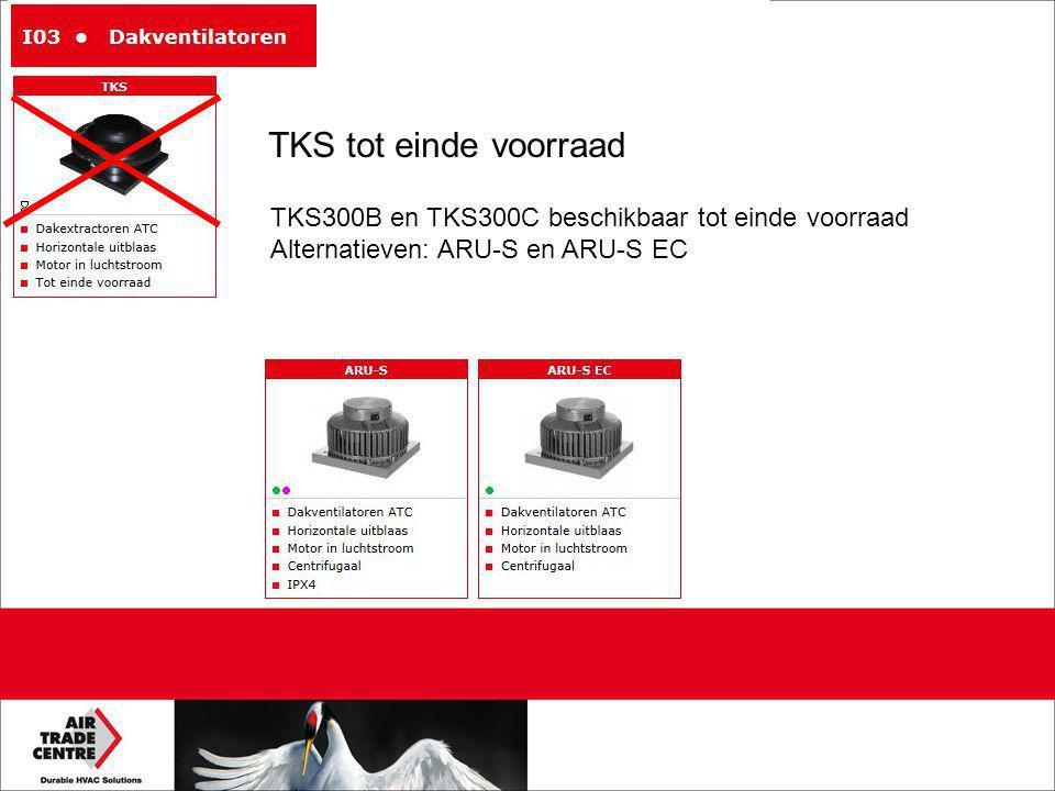 TKS tot einde voorraad TKS300B en TKS300C beschikbaar tot einde voorraad Alternatieven: ARU-S en ARU-S EC