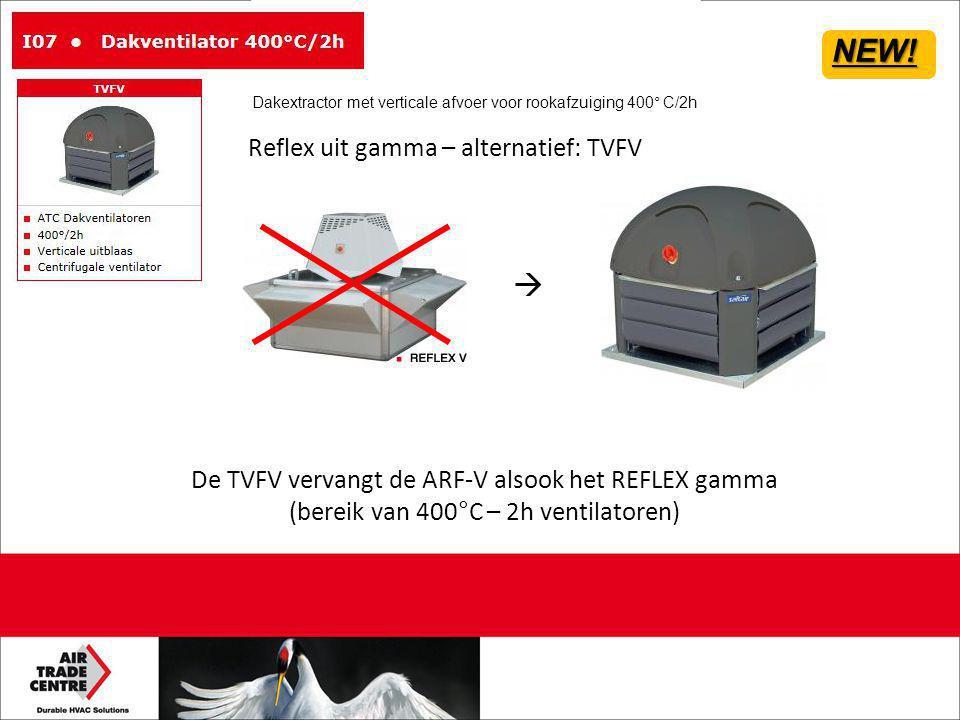 Reflex uit gamma – alternatief: TVFV De TVFV vervangt de ARF-V alsook het REFLEX gamma (bereik van 400°C – 2h ventilatoren)  NEW! Dakextractor met ve