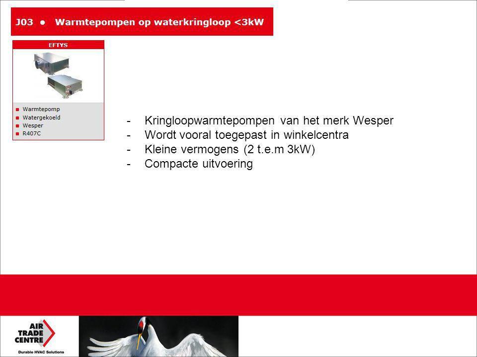 -Kringloopwarmtepompen van het merk Wesper -Wordt vooral toegepast in winkelcentra -Kleine vermogens (2 t.e.m 3kW) -Compacte uitvoering