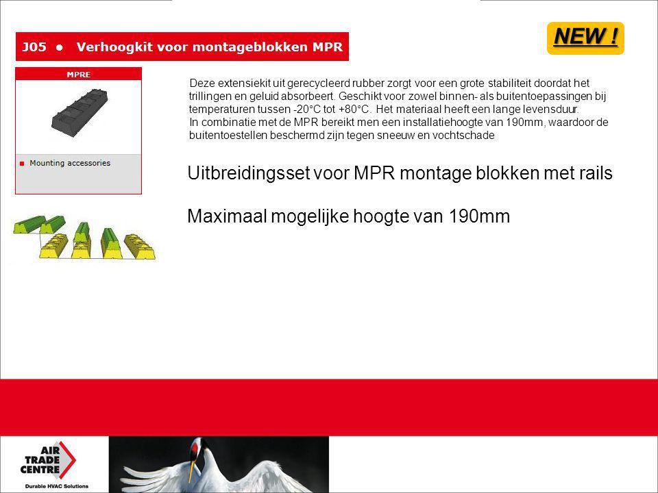 Uitbreidingsset voor MPR montage blokken met rails Maximaal mogelijke hoogte van 190mm NEW ! Deze extensiekit uit gerecycleerd rubber zorgt voor een g