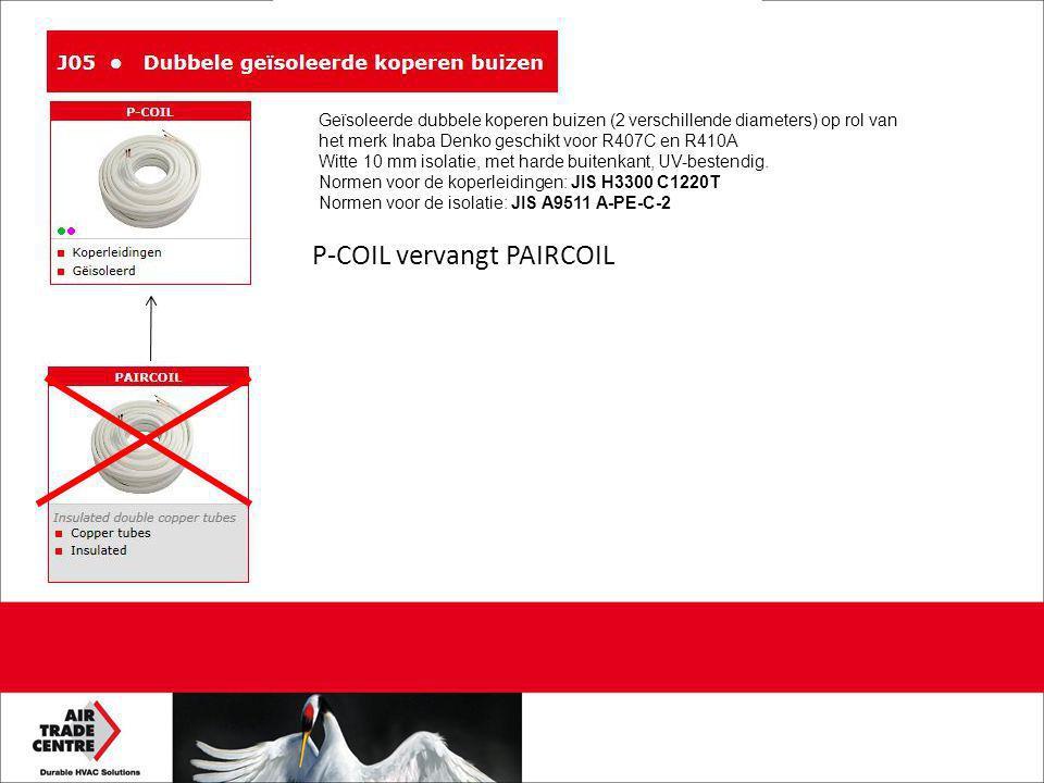 P-COIL vervangt PAIRCOIL Geïsoleerde dubbele koperen buizen (2 verschillende diameters) op rol van het merk Inaba Denko geschikt voor R407C en R410A Witte 10 mm isolatie, met harde buitenkant, UV-bestendig.