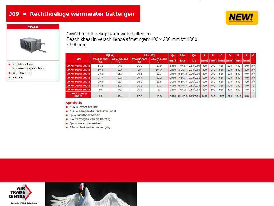 NEW! CWAR rechthoekige warmwaterbatterijen Beschikbaar in verschillende afmetingen: 400 x 200 mm tot 1000 x 500 mm