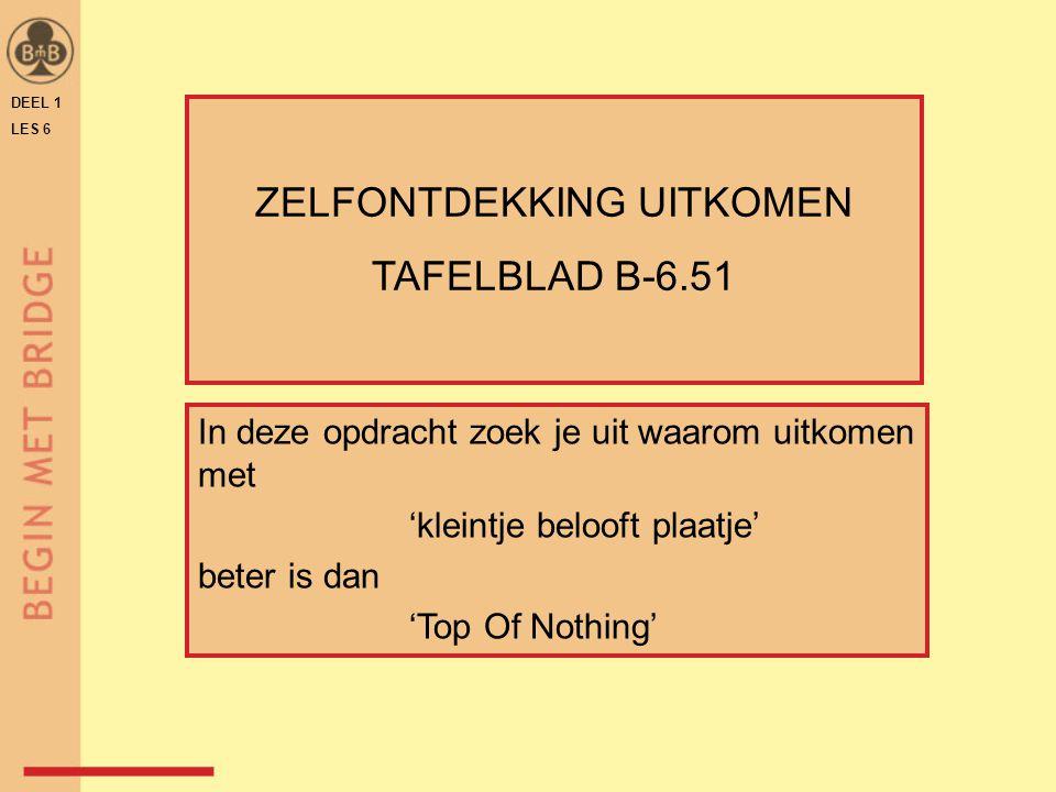 DEEL 1 LES 6 ZELFONTDEKKING UITKOMEN TAFELBLAD B-6.51 In deze opdracht zoek je uit waarom uitkomen met 'kleintje belooft plaatje' beter is dan 'Top Of