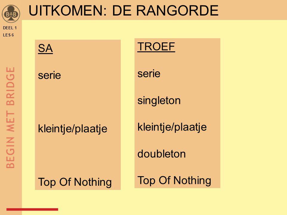 DEEL 1 LES 6 SA serie kleintje/plaatje Top Of Nothing TROEF serie singleton kleintje/plaatje doubleton Top Of Nothing UITKOMEN: DE RANGORDE