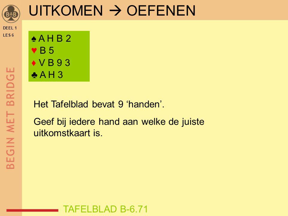 DEEL 1 LES 6 ♠ A H B 2 ♥ B 5 ♦ V B 9 3 ♣ A H 3 TAFELBLAD B-6.71 Het Tafelblad bevat 9 'handen'. Geef bij iedere hand aan welke de juiste uitkomstkaart
