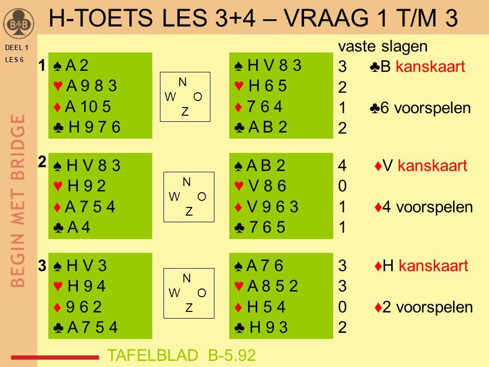 DEEL 1 LES 6 ♠ A 2 ♥ A 9 8 3 ♦ A 10 5 ♣ H 9 7 6 ♠ H V 8 3 ♥ H 9 2 ♦ A 7 5 4 ♣ A 4 ♠ H V 3 ♥ H 9 4 ♦ 9 6 2 ♣ A 7 5 4 ♠ H V 8 3 ♥ H 6 5 ♦ 7 6 4 ♣ A B 2