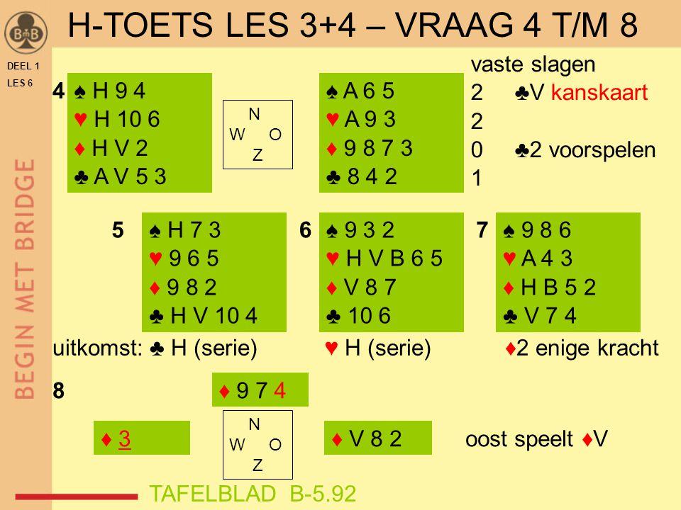DEEL 1 LES 6 ♠ H 9 4 ♥ H 10 6 ♦ H V 2 ♣ A V 5 3 ♠ H 7 3 ♥ 9 6 5 ♦ 9 8 2 ♣ H V 10 4 ♠ 9 8 6 ♥ A 4 3 ♦ H B 5 2 ♣ V 7 4 ♠ A 6 5 ♥ A 9 3 ♦ 9 8 7 3 ♣ 8 4 2