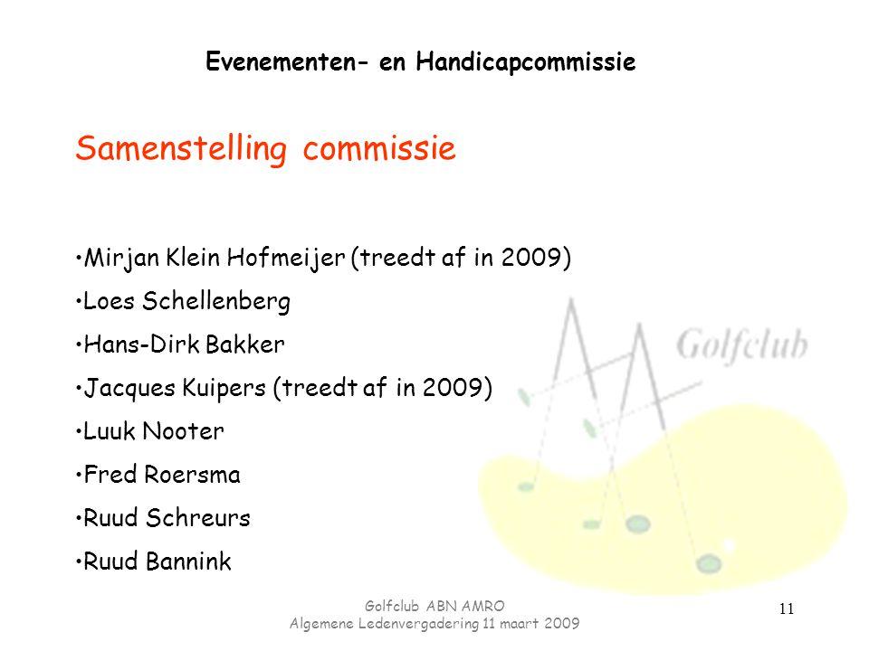 Golfclub ABN AMRO Algemene Ledenvergadering 11 maart 2009 11 Evenementen- en Handicapcommissie Samenstelling commissie Mirjan Klein Hofmeijer (treedt