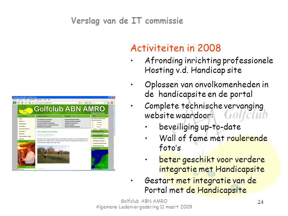 Golfclub ABN AMRO Algemene Ledenvergadering 11 maart 2009 24 Verslag van de IT commissie Activiteiten in 2008 Afronding inrichting professionele Hosti