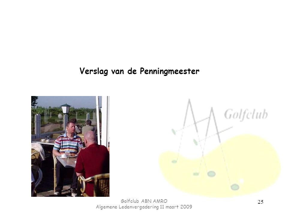 Golfclub ABN AMRO Algemene Ledenvergadering 11 maart 2009 25 Verslag van de Penningmeester
