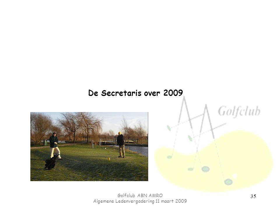 Golfclub ABN AMRO Algemene Ledenvergadering 11 maart 2009 35 De Secretaris over 2009