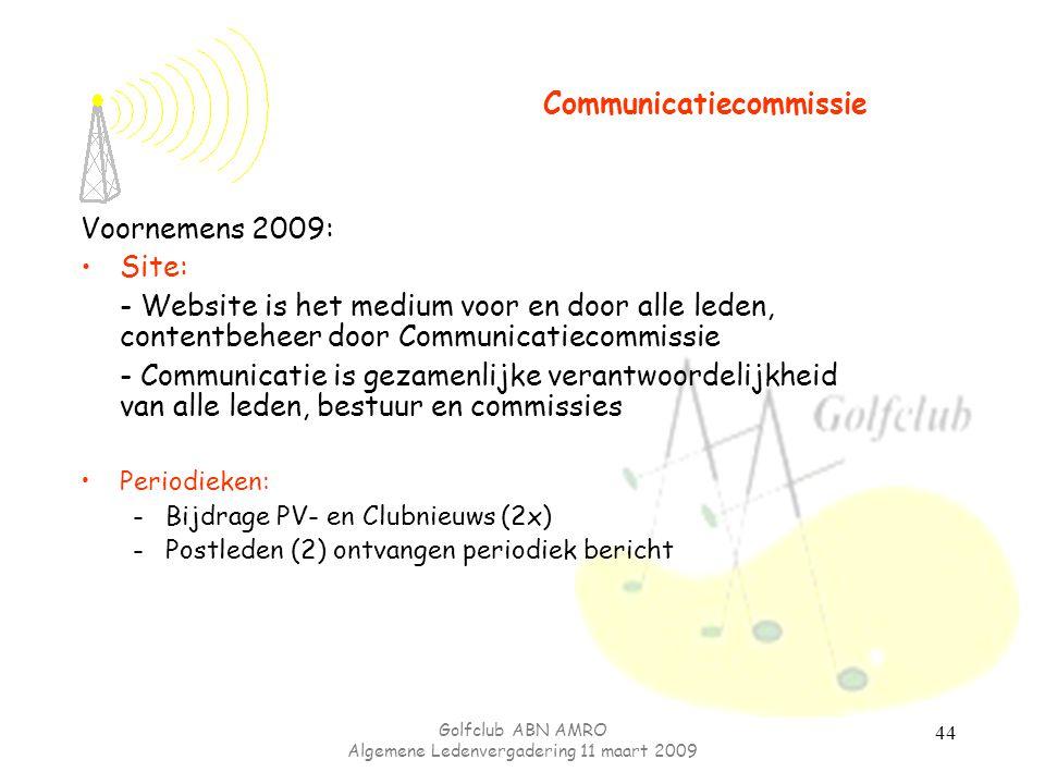 Golfclub ABN AMRO Algemene Ledenvergadering 11 maart 2009 44 Voornemens 2009: Site: - Website is het medium voor en door alle leden, contentbeheer doo