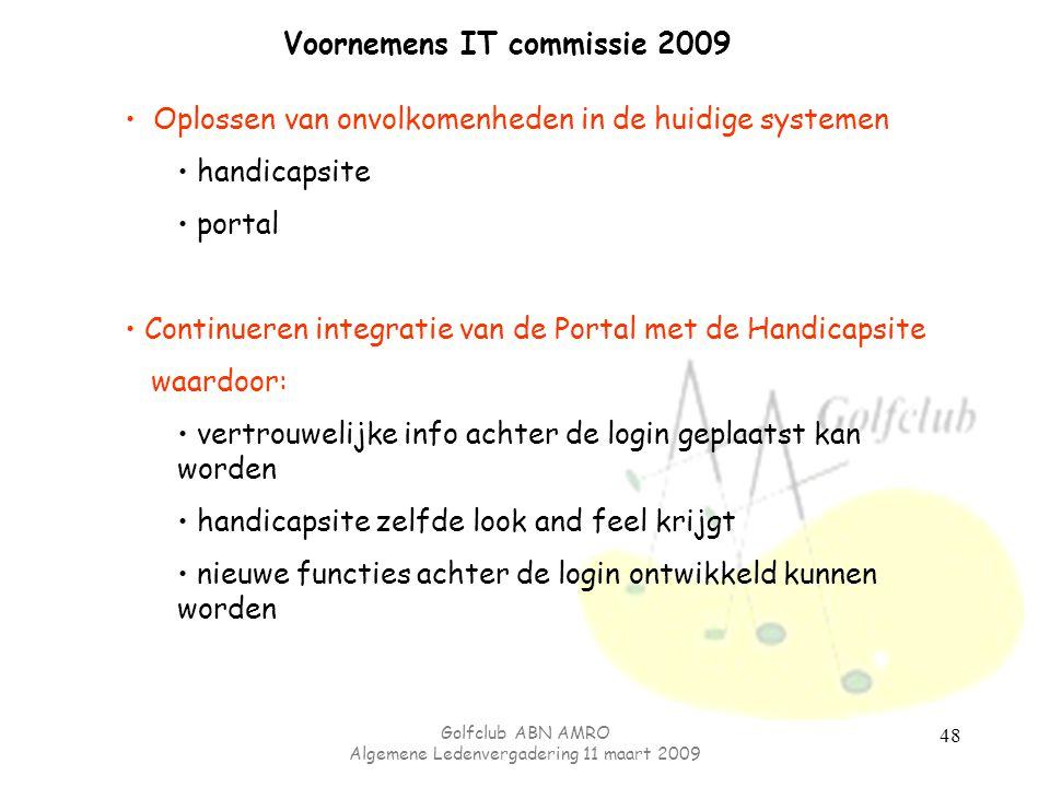 Golfclub ABN AMRO Algemene Ledenvergadering 11 maart 2009 48 Voornemens IT commissie 2009 Oplossen van onvolkomenheden in de huidige systemen handicap