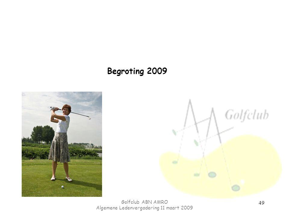 Golfclub ABN AMRO Algemene Ledenvergadering 11 maart 2009 49 Begroting 2009