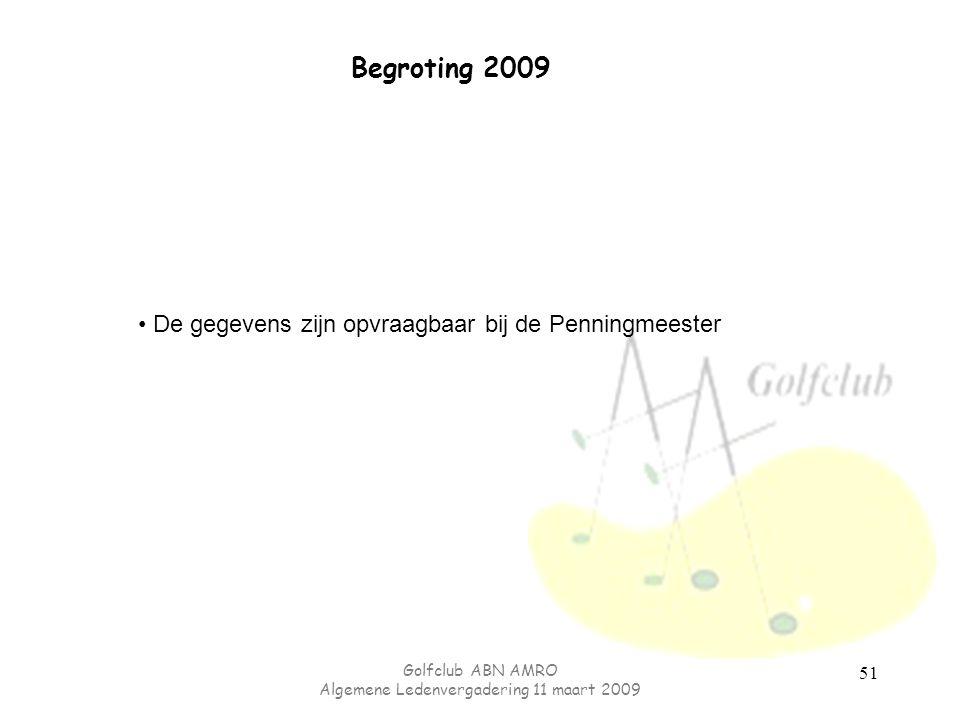 Golfclub ABN AMRO Algemene Ledenvergadering 11 maart 2009 51 Begroting 2009 De gegevens zijn opvraagbaar bij de Penningmeester