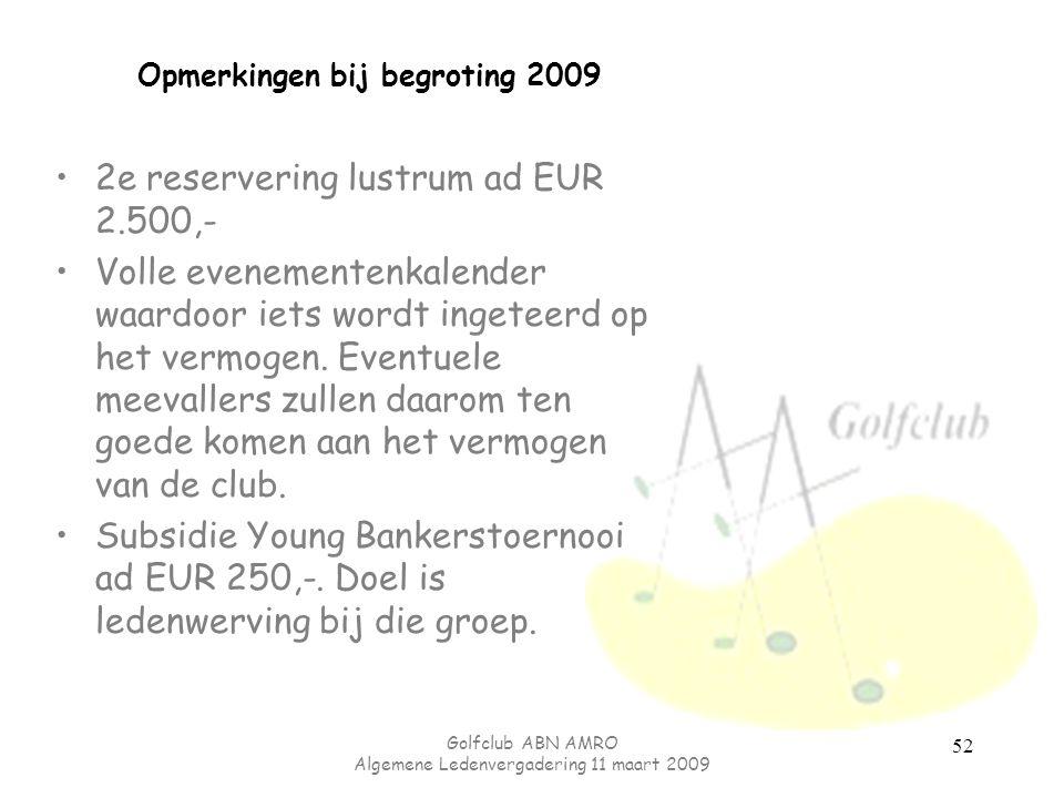 Golfclub ABN AMRO Algemene Ledenvergadering 11 maart 2009 52 Opmerkingen bij begroting 2009 2e reservering lustrum ad EUR 2.500,- Volle evenementenkal