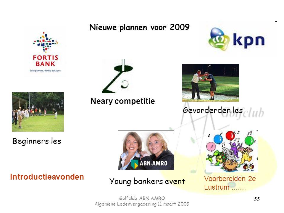 Golfclub ABN AMRO Algemene Ledenvergadering 11 maart 2009 55 Nieuwe plannen voor 2009 Gevorderden les Beginners les Neary competitie Young bankers eve