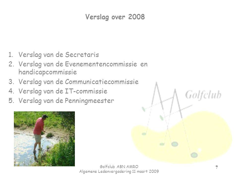 Golfclub ABN AMRO Algemene Ledenvergadering 11 maart 2009 7 Verslag over 2008 1.Verslag van de Secretaris 2.Verslag van de Evenementencommissie en han