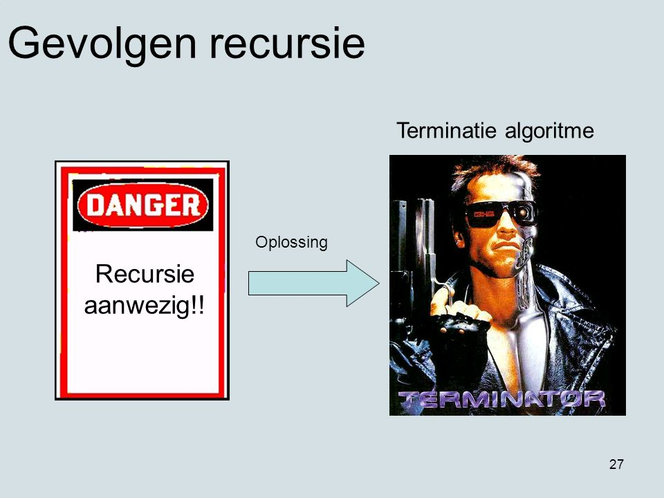 27 Recursie aanwezig!! Oplossing Terminatie algoritme Gevolgen recursie