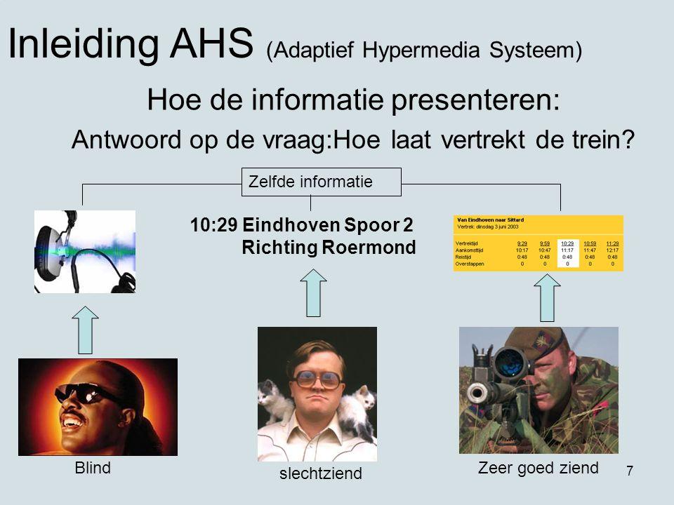 7 Hoe de informatie presenteren: Antwoord op de vraag:Hoe laat vertrekt de trein? Inleiding AHS (Adaptief Hypermedia Systeem) 10:29 Eindhoven Spoor 2