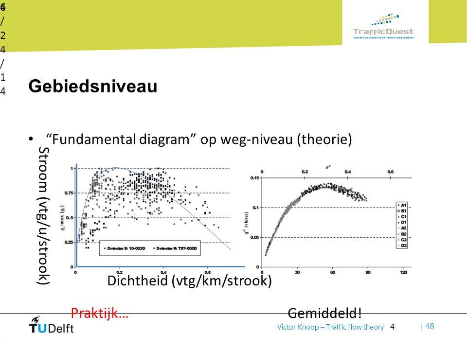 4 | 48 Victor Knoop – Traffic flow theory Gebiedsniveau Fundamental diagram op weg-niveau (theorie) 6/24/146/24/14 4 Dichtheid (vtg/km/strook) Stroom (vtg/u/strook) Praktijk… Gemiddeld!
