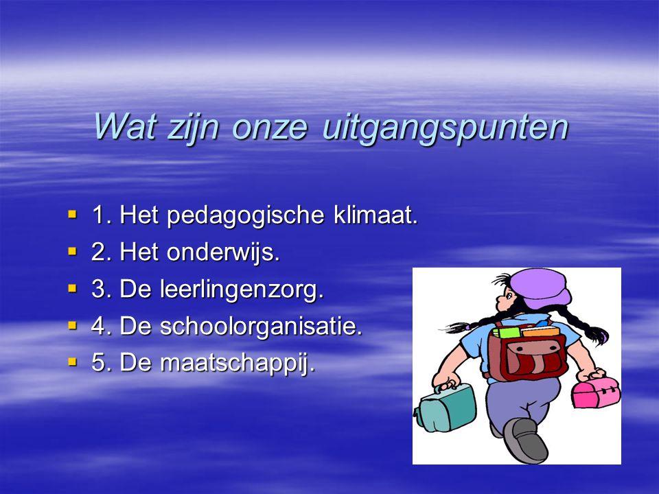 Wat zijn onze uitgangspunten  1. Het pedagogische klimaat.  2. Het onderwijs.  3. De leerlingenzorg.  4. De schoolorganisatie.  5. De maatschappi