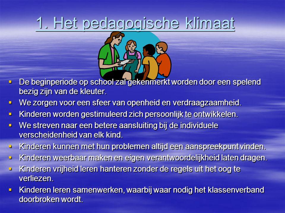 1. Het pedagogische klimaat 1. Het pedagogische klimaat  De beginperiode op school zal gekenmerkt worden door een spelend bezig zijn van de kleuter.