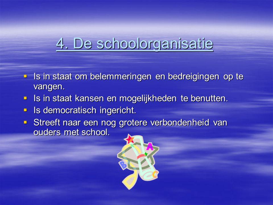 4. De schoolorganisatie  Is in staat om belemmeringen en bedreigingen op te vangen.  Is in staat kansen en mogelijkheden te benutten.  Is democrati