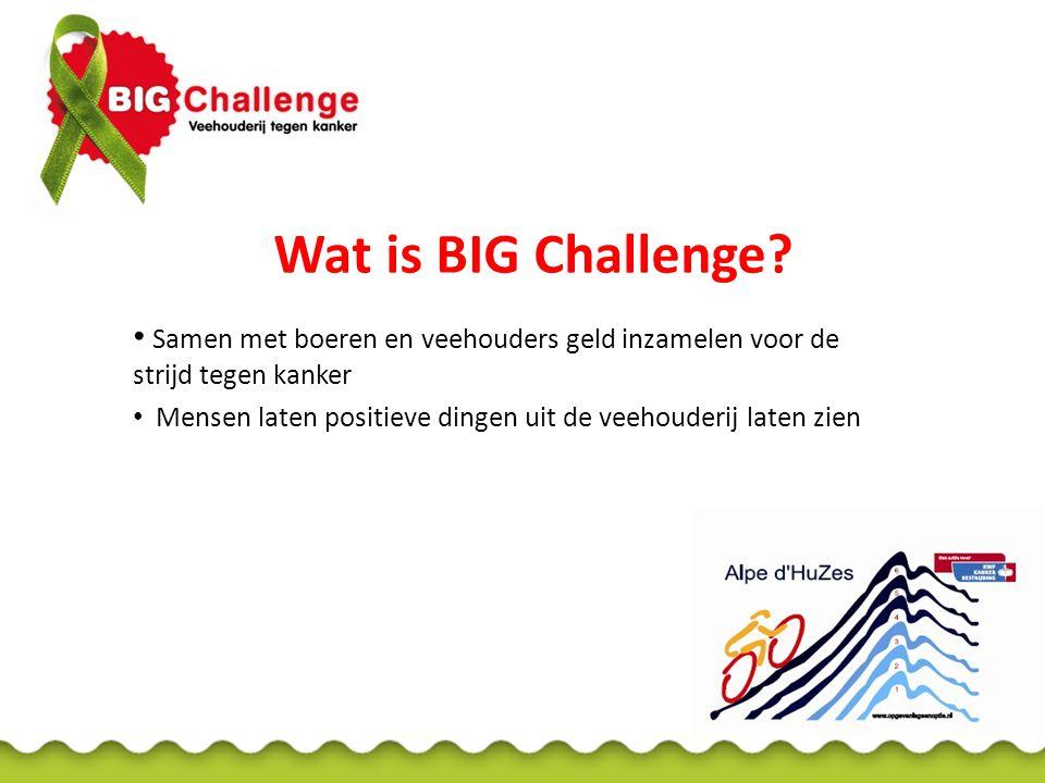 Wat is BIG Challenge? Samen met boeren en veehouders geld inzamelen voor de strijd tegen kanker Mensen laten positieve dingen uit de veehouderij laten