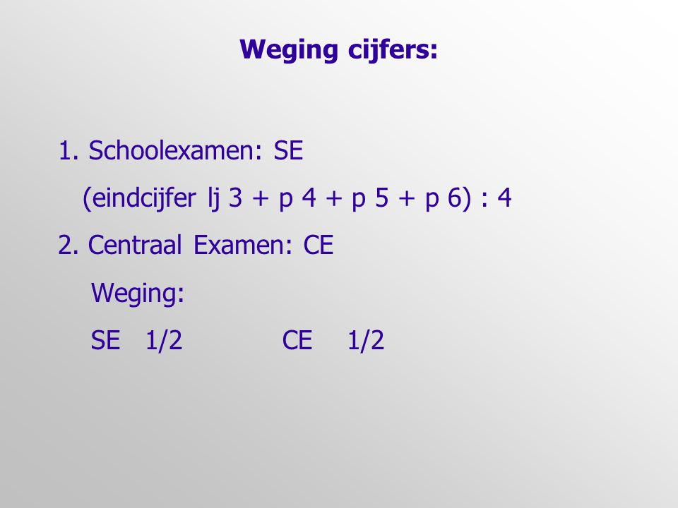 Weging cijfers: 1.Schoolexamen: SE (eindcijfer lj 3 + p 4 + p 5 + p 6) : 4 2.