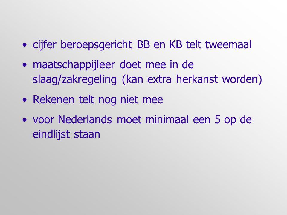 cijfer beroepsgericht BB en KB telt tweemaal maatschappijleer doet mee in de slaag/zakregeling (kan extra herkanst worden) Rekenen telt nog niet mee voor Nederlands moet minimaal een 5 op de eindlijst staan