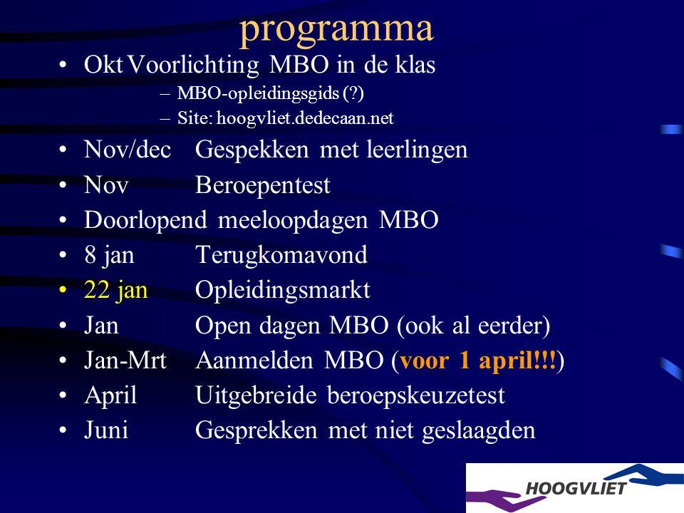 programma OktVoorlichting MBO in de klas –MBO-opleidingsgids (?) –Site: hoogvliet.dedecaan.net Nov/decGespekken met leerlingen NovBeroepentest Doorlopend meeloopdagen MBO 8 janTerugkomavond 22 janOpleidingsmarkt JanOpen dagen MBO (ook al eerder) Jan-MrtAanmelden MBO (voor 1 april!!!) AprilUitgebreide beroepskeuzetest JuniGesprekken met niet geslaagden