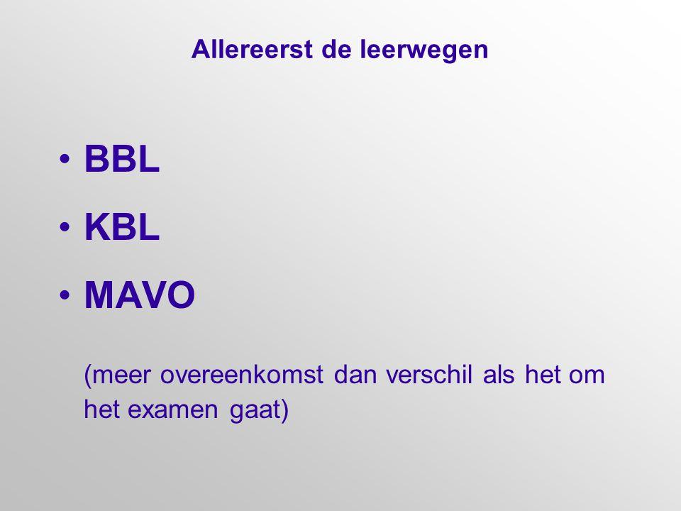 Allereerst de leerwegen BBL KBL MAVO (meer overeenkomst dan verschil als het om het examen gaat)