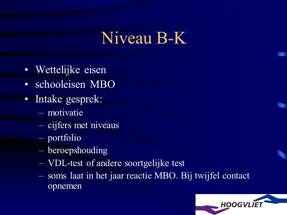 Niveau B-K Wettelijke eisen schooleisen MBO Intake gesprek: –motivatie –cijfers met niveaus –portfolio –beroepshouding –VDL-test of andere soortgelijke test –soms laat in het jaar reactie MBO.