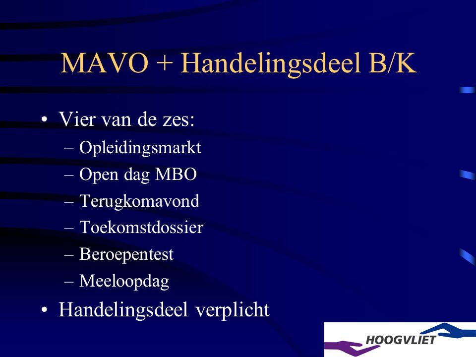 MAVO + Handelingsdeel B/K Vier van de zes: –Opleidingsmarkt –Open dag MBO –Terugkomavond –Toekomstdossier –Beroepentest –Meeloopdag Handelingsdeel verplicht