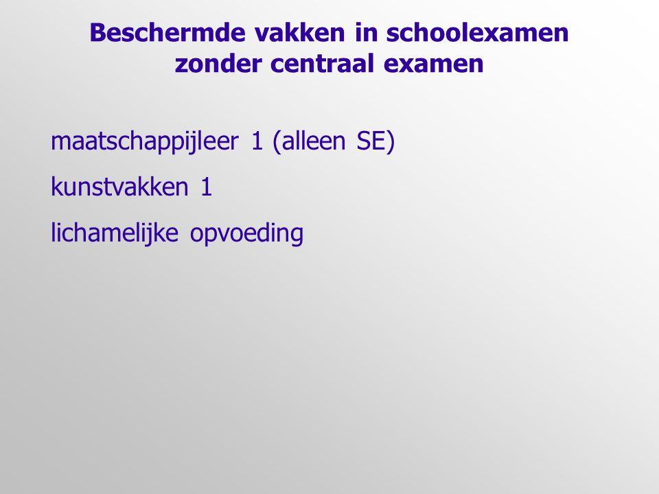 Beschermde vakken in schoolexamen zonder centraal examen maatschappijleer 1 (alleen SE) kunstvakken 1 lichamelijke opvoeding