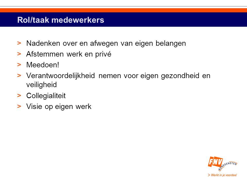 Rol/taak medewerkers >Nadenken over en afwegen van eigen belangen >Afstemmen werk en privé >Meedoen.