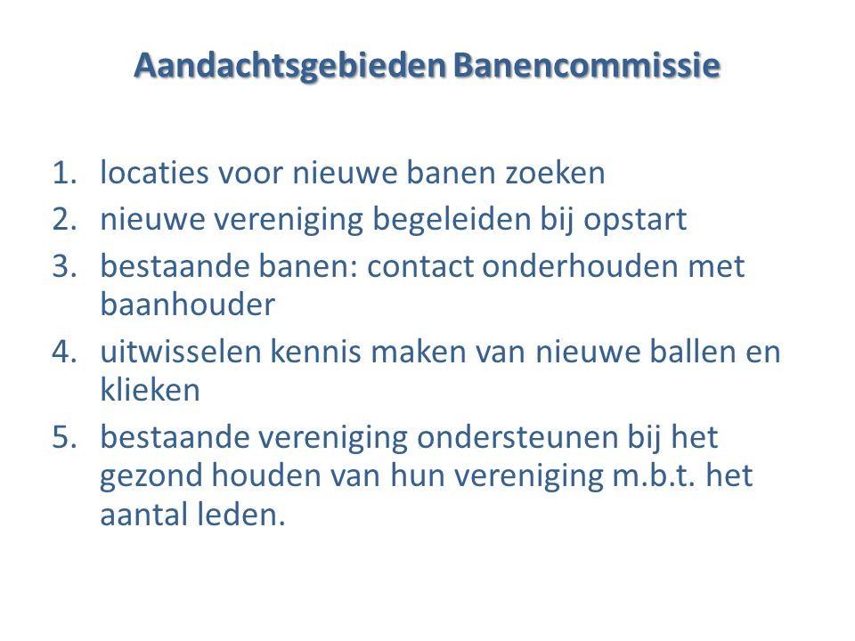 Locaties voor nieuwe banen zoeken 1.beperken tot het vinden van nieuwe banen in Noord-Holland (en aansluitende gebieden) 2.meeste kans van slagen: multifunctionele sportlocaties/dorpshuizen 3.liefst in de buurt van bestaande locaties, maar niet bestaande verenigingen kannibaliseren 4.banencommissie informeert en begeleidt de baanhouder bij de opstartfase.