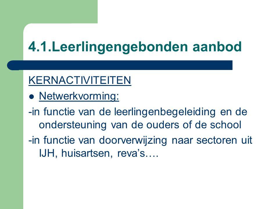 4.1.Leerlingengebonden aanbod KERNACTIVITEITEN Netwerkvorming: -in functie van de leerlingenbegeleiding en de ondersteuning van de ouders of de school -in functie van doorverwijzing naar sectoren uit IJH, huisartsen, reva's….