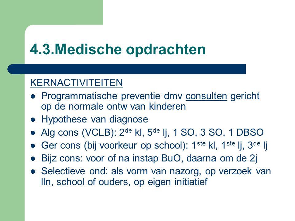 4.3.Medische opdrachten KERNACTIVITEITEN Programmatische preventie dmv consulten gericht op de normale ontw van kinderen Hypothese van diagnose Alg cons (VCLB): 2 de kl, 5 de lj, 1 SO, 3 SO, 1 DBSO Ger cons (bij voorkeur op school): 1 ste kl, 1 ste lj, 3 de lj Bijz cons: voor of na instap BuO, daarna om de 2j Selectieve ond: als vorm van nazorg, op verzoek van lln, school of ouders, op eigen initiatief