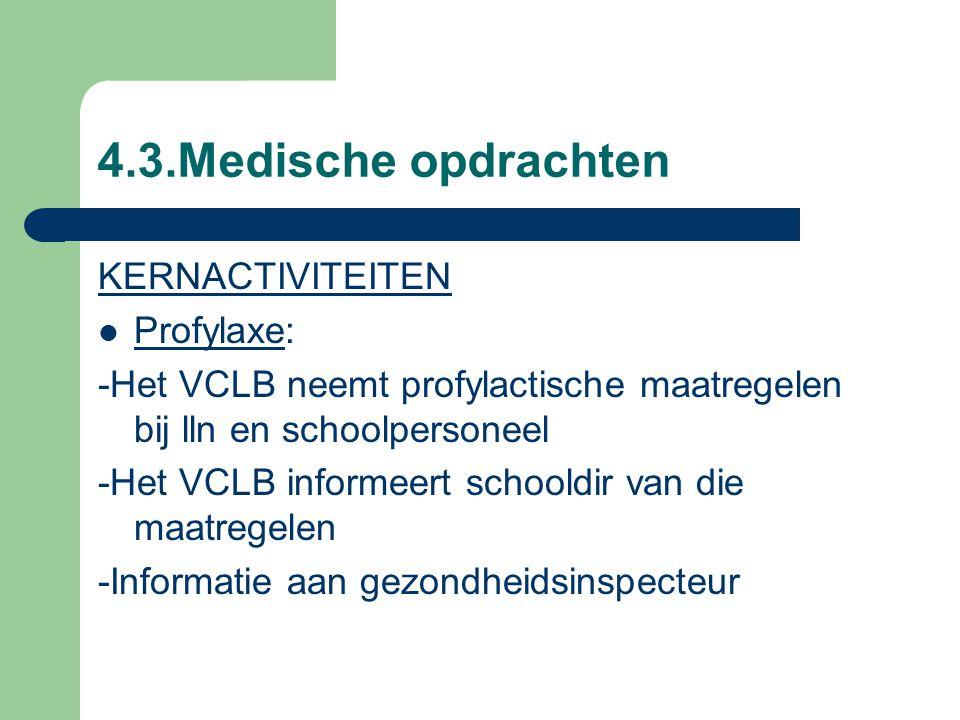 4.3.Medische opdrachten KERNACTIVITEITEN Profylaxe: -Het VCLB neemt profylactische maatregelen bij lln en schoolpersoneel -Het VCLB informeert schooldir van die maatregelen -Informatie aan gezondheidsinspecteur