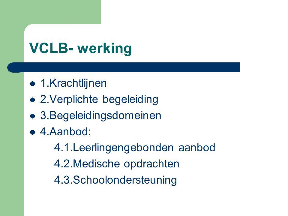VCLB- werking 1.Krachtlijnen 2.Verplichte begeleiding 3.Begeleidingsdomeinen 4.Aanbod: 4.1.Leerlingengebonden aanbod 4.2.Medische opdrachten 4.3.Schoolondersteuning