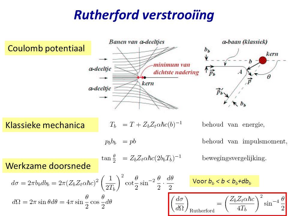 Najaar 2004Jo van den Brand5 Rutherford verstrooiïng Geldig voor b > b min =R a + R t ofwel Meet interactieafstand b min versus A Eigenlijk b min  R a + R t + R s