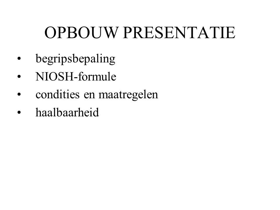 OPBOUW PRESENTATIE begripsbepaling NIOSH-formule condities en maatregelen haalbaarheid